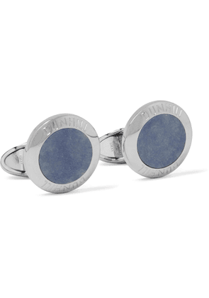 DUNHILL - Logo-Engraved Rhodium-Plated Agate Cufflinks - Men - Blue