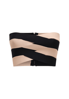 Two Tone Viscose Blend Knit Bustier