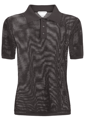 Cotton Blend Mesh Knit Polo Shirt