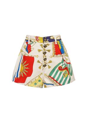 Printed Cotton Twill Shorts