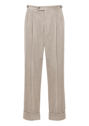 Leather Patch Regular Corduroy Pants
