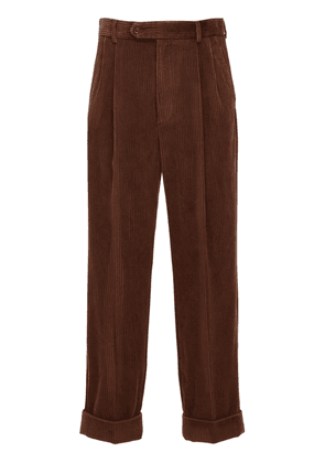 Leather Patch Corduroy Pants