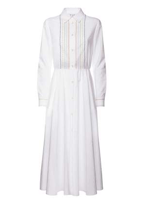 Belted Cotton Poplin Embroidered Dress