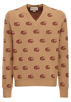 Double G Jacquard Wool V-neck Sweater