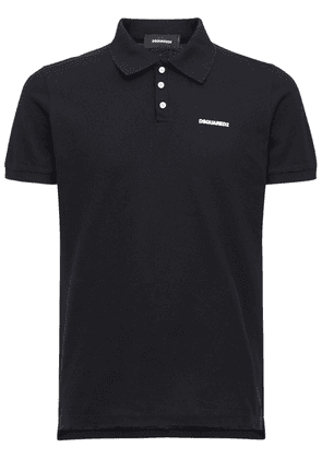 Logo Print Cotton Pique Polo