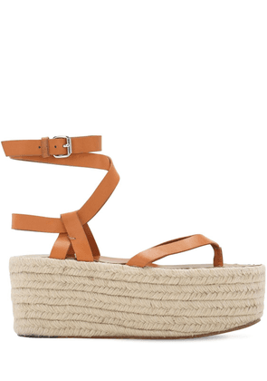 75mm Mazia Leather Espadrille Wedges