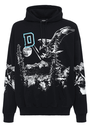 Loose Print & Patch Cotton Jersey Hoodie