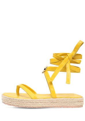 20mm Leather Espadrille Thong Sandals
