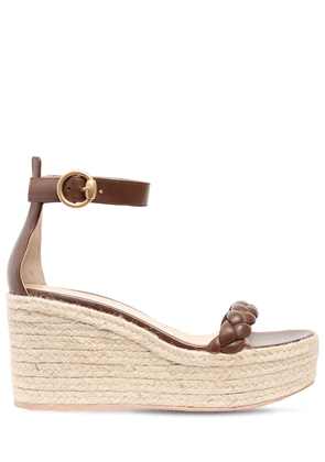 85mm Leather Espadrille Wedges