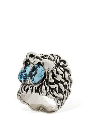 Lion Head Crystal Thick Ring