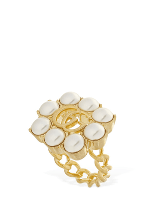 Gg Marmont Thick Ring W/ Imitation Pearl