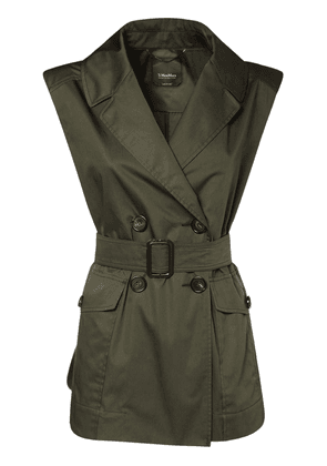 Belted  Double Breast Cotton Satin Vest