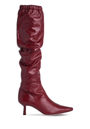 65mm Gwen Creased Leather Tall Boots