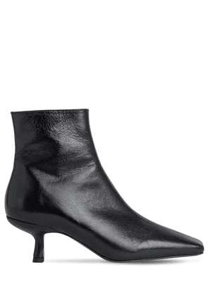 50mm Lange Creased Leather Ankle Boots