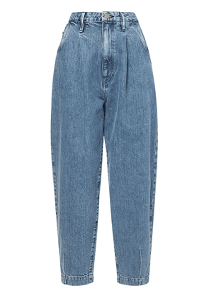 Pleated Barrel Leg Jeans