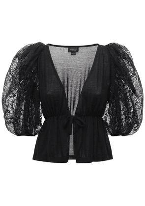 Cashmere & Silk Top W/ Puff Sleeves