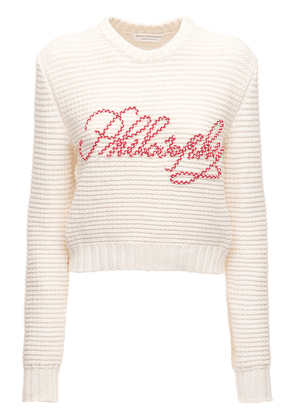 Embroidered Stretch Cotton Knit Sweater