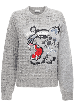 Embroidered Wool Blend Knit Sweater