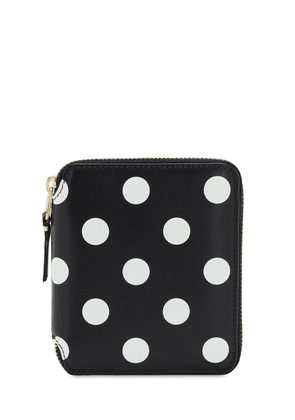 Polka Dots Print Leather Compact Wallet