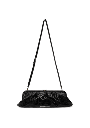 Balenciaga Black Croc XL Cloud Clutch