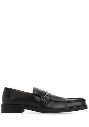 35mm  Leather Loafers W/ Square Toe