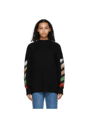 Off-White Black Brushed Wool Diag Sweater