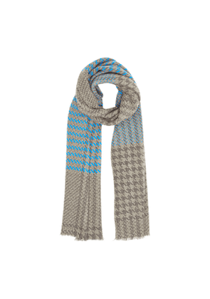 Blue and Grey Patterned Scarf