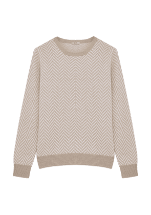 Beige and White Zig Zag Jumper