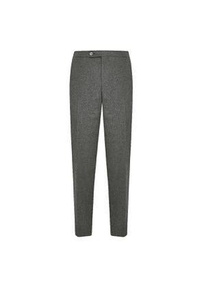Grey Wool Flat Front Trouser