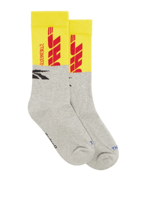 Vetements - X Reebok Dhl Logo-jacquard Cotton-blend Socks - Mens - Grey Multi