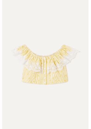 Miguelina Kids - Ages 4 - 12 Jenna Crocheted Striped Cotton-voile Top - Yellow