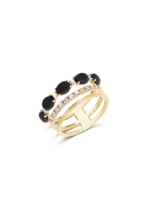 Mozafarian Black Onyx And Diamond Ring