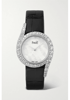 Piaget - Limelight Gala 32mm 18-karat White Gold, Alligator, Mother-of-pearl And Diamond Watch
