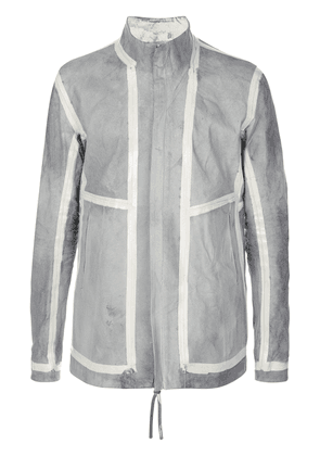 Boris Bidjan Saberi striped panel leather jacket - Grey