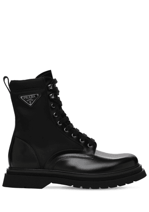 Logo Nylon & Leather Boots