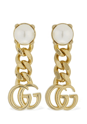 Gg Marmont Drop Earrings W/ Faux Pearl