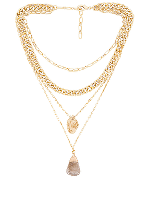 Amber Sceats Layered Pendant Necklace in Metallic Gold.