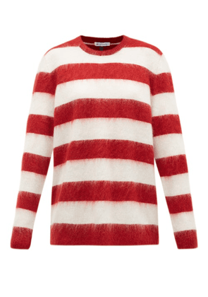 Bella Freud - Oversized Striped Mohair-blend Sweater - Womens - Red White