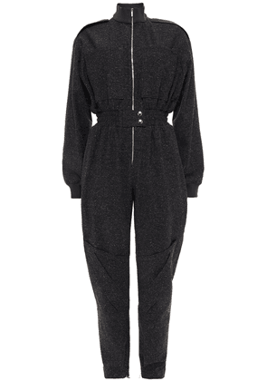 Acne Studios Leather-trimmed Donegal Tweed Jumpsuit Woman Black Size 36