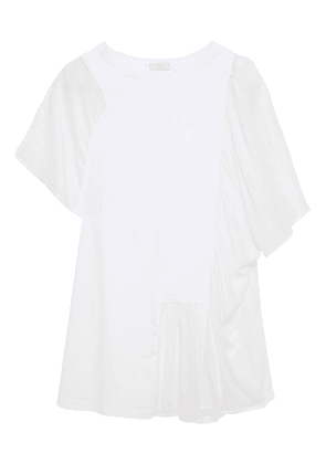 Clu Gathered Cotton-jersey And Cotton And Silk-blend Voile Top Woman White Size M
