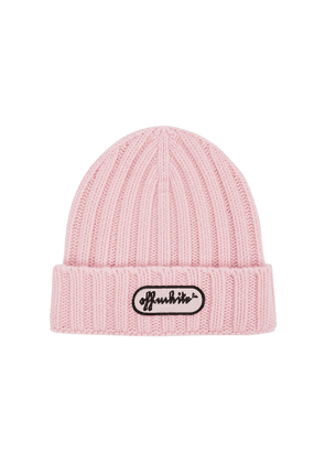 Off-White Light Pink Ribbed Wool Beanie
