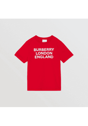 Burberry Childrens Logo Print Cotton T-shirt, Red