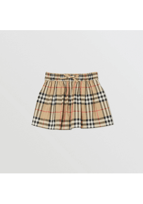 Burberry Childrens Vintage Check Gathered Cotton Shorts, Beige
