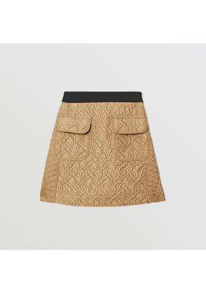 Burberry Childrens Monogram Quilted Panel Recycled Polyester Skirt, Brown