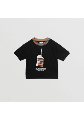 Burberry Childrens Cake Print Cotton T-shirt, Black