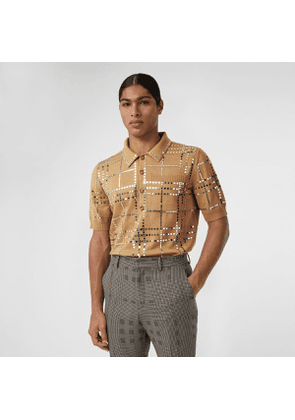 Burberry Mirrored Check Wool Jersey Polo Shirt