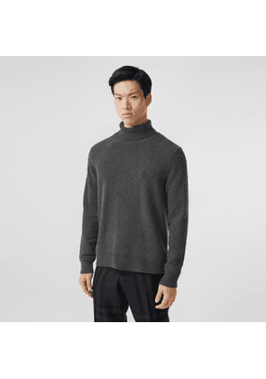 Burberry Monogram Motif Cashmere Roll-neck Sweater, Grey