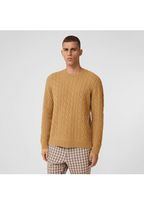 Burberry Cable Knit Wool Cashmere Sweater, Beige