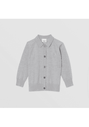 Burberry Childrens Crystal Monogram Motif Merino Wool Cardigan, Grey