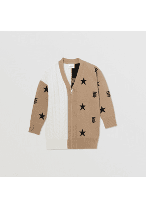 Burberry Childrens Star and Monogram Motif Wool Cashmere Cardigan, Beige